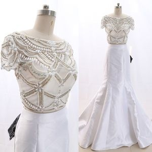 Cap Sleeves Satin White Prom Dress Pageant Gown